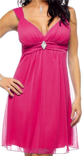 Sexy Sleeveless Rhinestone Evening Prom Party Mini Dress, Medium, Fuchsia Pink