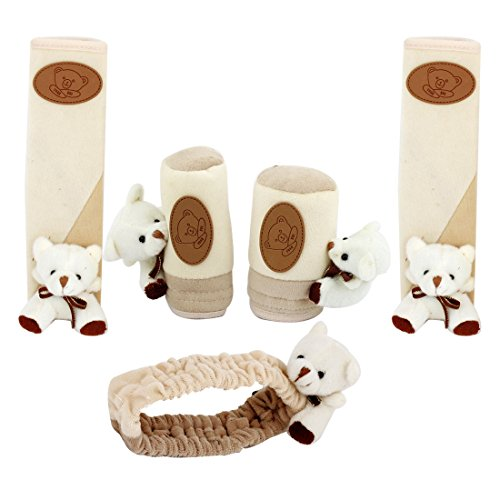 5Pcs Car Beige Bear Decor Flannel Shift Knob Handle Brake Cover Sleeve front-984928