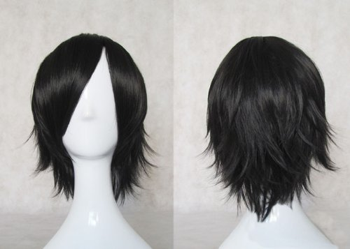 MapofBeauty Anime Costume Party Cosplay Short Black Wig