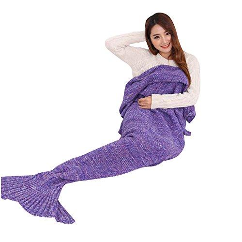 Kihanny Living Room Mermaid Tail Knit Crochet Mermaid Blanket for Kids and Adults, 71