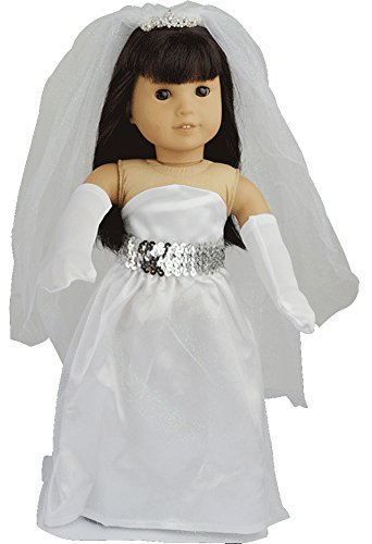 Ebuddy 4pc Include Wedding White Tube Dress Gloves Veil Fits 18 Inch Girl Dolls - 1