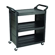 "Rubbermaid Polyethylene Service Cart with End Panel, 3 Shelves, 37-1/2"" Height, 31"" Length x 18"" Width"