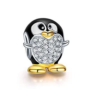 NinaQueen® *Happy Feet* 925 Sterling Silver Penguin Charms,Fits Pandora Bracelet **Animal Jewelry**Cute Charms for Girls, Women Fine Jewelry, a great gift for wife, girlfriend, families and friends on Birthday, Valentines day, Graduations, Mother's Day and Christmas Day, or just as a surprise to remind that special one how much you care!