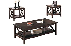 Poundex 3 Piece Coffee Table Cappuccino Pdb Z