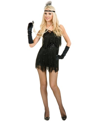 Adult Sexy Chicago Black Flapper Costume AND Accessories ( Medium )