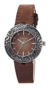 Kahuna Women's Quartz Watch with Brown Dial Analogue Display and Brown Leather Strap KLS-0213L