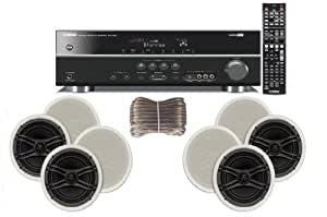 "Yamaha 3D-Ready 5.1-Channel 500 Watts Digital Home Theater Audio/Video Receiver with 1080p-compatible HDMI repeater & Upgraded CINEMA DSP + Yamaha Universal iPod & iPhone Dock + Yamaha Custom Easy-to-install Natural Sound In-Ceiling 3-Way 100 watt Speakers (Set of 4) with Dual Tweeters & 6-1/2"" Woofer + 100ft 16 AWG Speaker Wire"