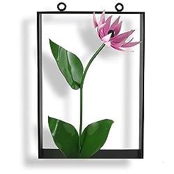 Pink Lily Wall Sculpture, Framed Steel, Indoor/Outdoor