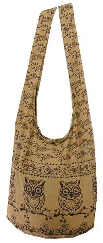 Tan Owl Hippie Boho Vintage Sling Cross Body Shoulder Messenger Bag Large Owll03 front-443648