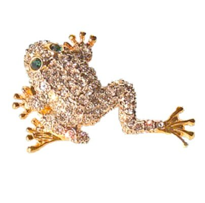 White Swarovski Crystals Leaping Frog Pin Toad Brooch 24K Gold Jewelry White ...