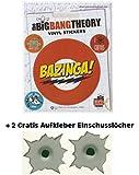 Big Bang Theory Aufkleberset + Gratis Einschussloch Aufkleber