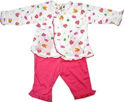Bubbles Front Open Printed Dress For New Born (3-6 Months) (Pink)