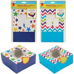 Bakery Box with Sticker and Cupcake Holder (1 count) - Chevron and Stars (Sold by 1 pack of 36 items) PROD-ID : 1882710