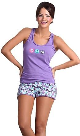 Laura Womens Tank Top Shorts Set Purple Comfortable Pajama #525045 (M