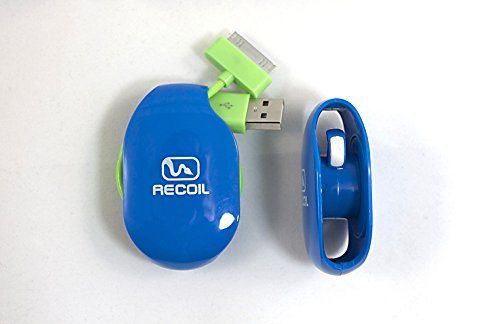 Recoil Automatic Cord Winder For Headphones, Usb Cables And Phone, Tablet And Reader Chargers. No More Tangled Cords! The Original Retractable Cord Organizer. Blue, Size Medium