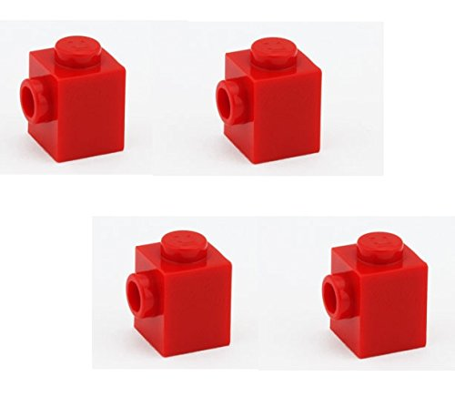 Lego Parts: Brick, Modified 1 x 1 with Stud on 1 Side (PACK of 4 - Red) - 1