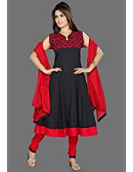 Utsav Fashion Women's Black Cotton Readymade Anarkali Churidar Kameez-XX-Large