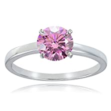 buy Platinum Tone Over Sterling Silver 100 Facets Light Pink Cubic Zirconia Ring (1 Cttw)