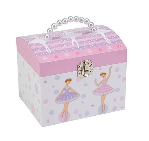 JewelKeeper White and Purple Ballerina Musical Jewelry Box with Pearl Handle and Removable Insert, Girl's Jewelry Storage Chest, Swan Lake Tune (Vintage Ballerina Jewelry Box compare prices)