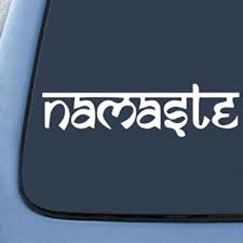 Namaste Hindi Hindu Decal Vinyl Sticker| Cars Trucks Vans Walls Laptop|WHITE|5.5 In|CCI314