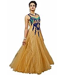 B4Best Creation New Designer Gold color net Party Wear Gown
