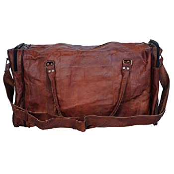 d7fc293b549 Passion leather 24 Inch Square Duffel Travel Gym Sports Overnight Weekend  Leather Bag