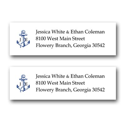 180 Personalized Custom Anchor Monogram Address Mailing Labels Size (2-5/8 X 1) By Rile Designs