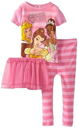 Disney Little Girls'  Princess Wishes Short Sleeve Pajama Set, Pink, 2T