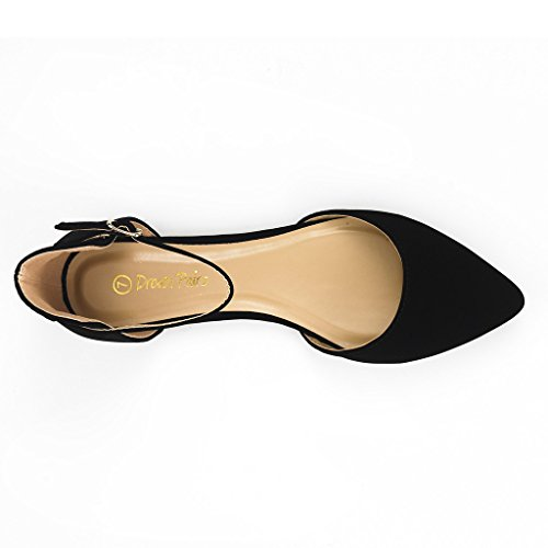 DREAM PAIRS FLAPOINTED-ANKLE Women's Casual D'orsay Pointed Plain Ballet Comfort Soft Slip On Flats Shoes New BLACK NUBUCK SIZE 7.5