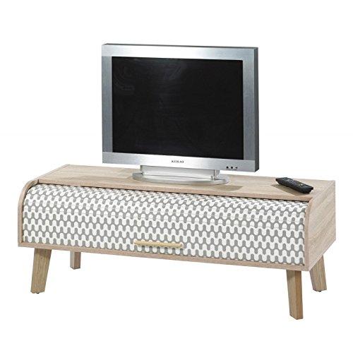 simmob–Waschtisch TV Vintage Eiche 1Vorhang–Farbe Vorhang–Vorhang 'Wellen' schwarz und weiß