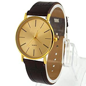 Fancasen Fashion Golden Luxury Gentle Men's Leather Band Quartz Wrist Watches
