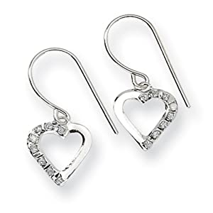 Genuine IceCarats Designer Jewelry Gift 14K White Gold Diamond Fascination Heart Earrings In 14K White Gold