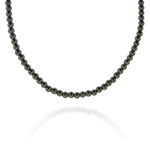 4mm Round Hematine Bead Necklace, 30+2