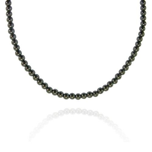 4mm Round Hematine Bead Necklace, 30+2