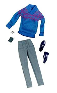 Ken Clothes: Blue Sweater & Gray Corduroy Fashion Outfit