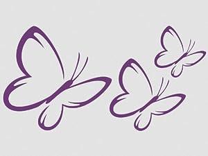 Wandtattoo Wandaufkleber Schmetterlinge 3 Stück Motiv 3 -mittelgrau74