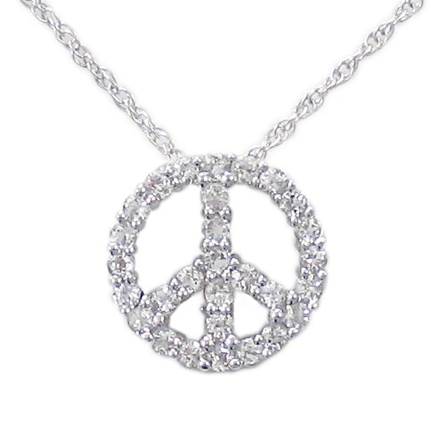 Sterling Silver White Topaz Peace-Sign Pendant Necklace , 18