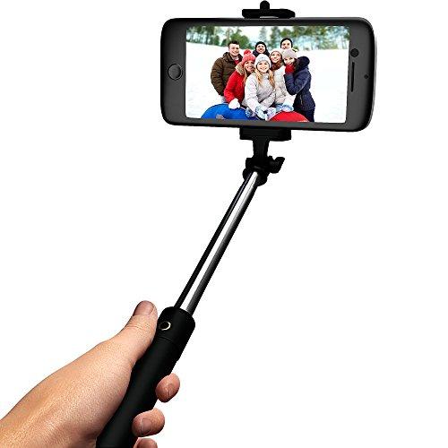 ultra light selfie stick monopod with bluetooth shutter button free carry wrist strap. Black Bedroom Furniture Sets. Home Design Ideas