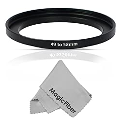 Goja 49-58MM Step-Up Adapter Ring (49MM Lens to 58MM Accessory) + Premium MagicFiber Microfiber Cleaning Cloth