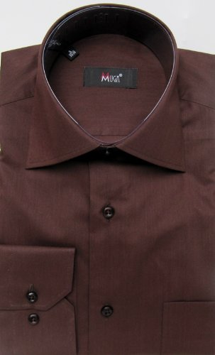 MUGA mens shirts for Casual and Formal, Brown, Size S