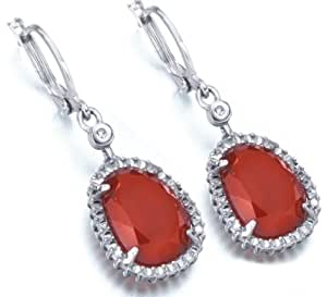 leCarré Earrings 0.010 ct. REAL DIAMOND, red ruby color chalcedony and Sterling Silver Rhodium Plated Fine earrings - leCarré DIAMOND COLLECTION