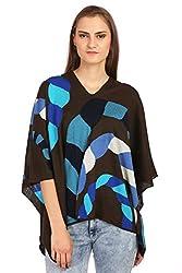 The Knit Factory Women's Acrowool Poncho (5006B, Black, Blue, Free Size)