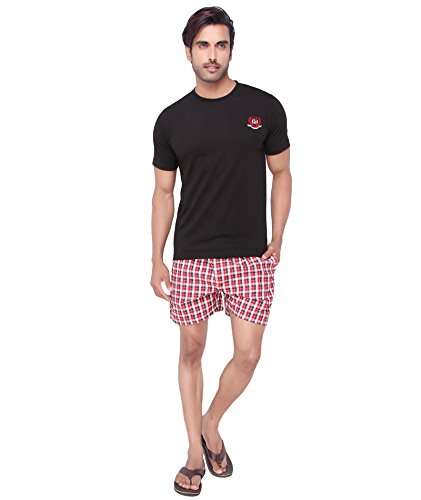 Valentine-Mens-Black-Red-Color-Cotton-Bermuda-Set