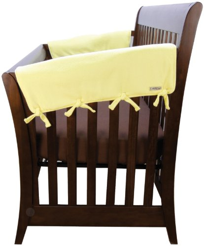 Trend-Lab-Fleece-CribWrap-Rail-Covers-for-Crib-Sides-Set-of-2-Yellow-Wide-for-Crib-Rails-Measuring-up-to-18-Around