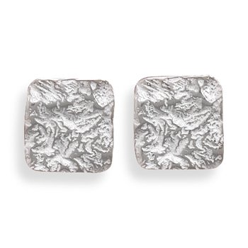 Sterling Silver Shiny Textured Square Post Earrings