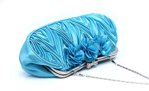 Elegant Sequined Satin Rose Handbags, Evening Party Wedding Clutch Purse Wallet For Women-Blue