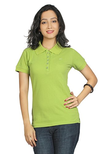 Aliep Aliep Parrot Green Cotton Solid Polo Neck Tshirt For Women | AL1048GRN (Multicolor)