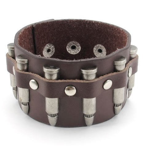 Konov Jewellery Bullet Wide Genuine Leather Unisex Men's Women's Bangle Cuff Bracelet, Punk Rock Style, Fits 7.5