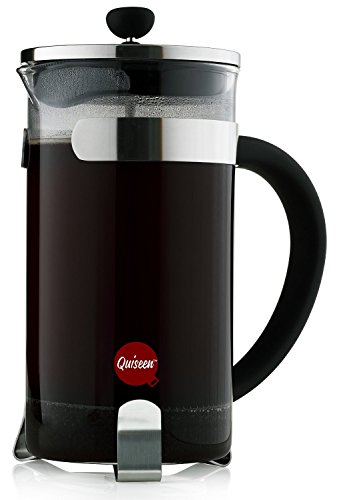 Quiseen French Press Coffee & Espresso Maker, 34-Ounce (8 4oz Cups), Chrome - 2 Extra filters included