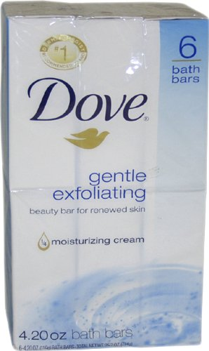 Dove Gentle Exfoliating Moisturizing Cream Beauty Bar, 6-Count